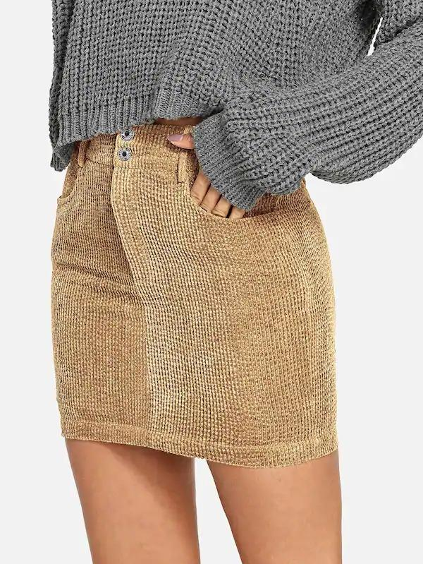 Double Button Front Corduroy Bodycon Skirt