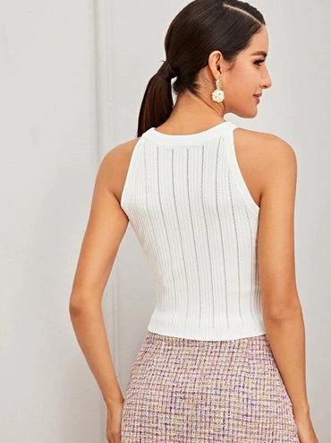Double Button Halter Knit Top