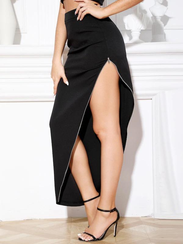 Double Crazy Zip Detail Asymmetrical Skirt