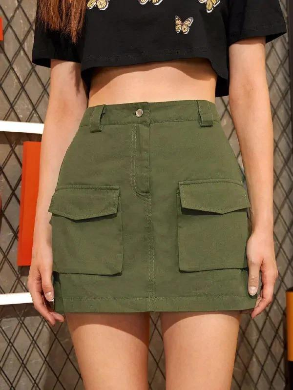 Double Pocket Solid Mini Skirt