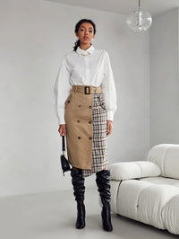 Women Double Button Front Self Belted Plaid Wrap Skirt