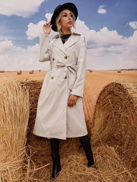 Women Double Button Self Tie Trench Coat