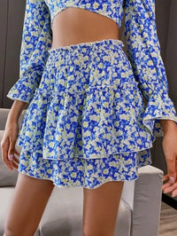 Women Double Crazy Floral Print Shirred Layered Skirt
