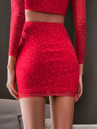 Women Double Crazy Heart Print Bodycon Skirt