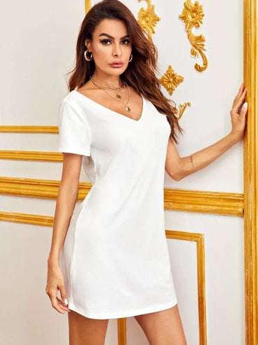 Women Double V Neck Lace Trim Solid Tee Dress