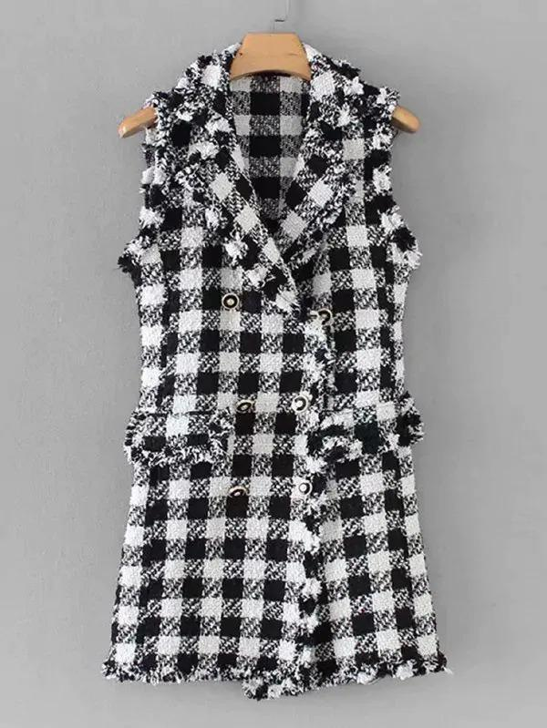 Double Breasted Houndstooth Tweed Outerwear
