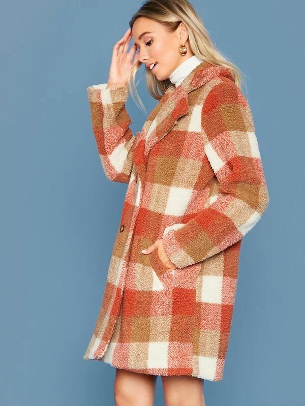 Double Breasted Plaid Teddy Coat