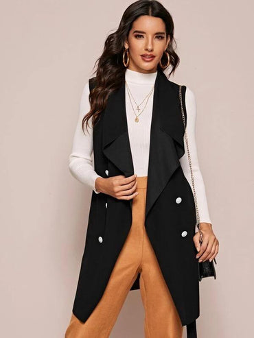 Women Double Button Waterfall Collar Belted Vest Coat
