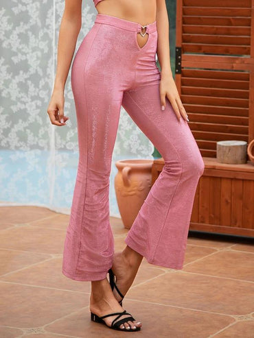 Double Crazy Cut-Out Heart Glitter Flare Leg Pants