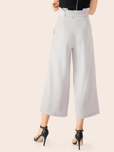 Double Crazy Paperbag Waist Crop Wide Leg Pants