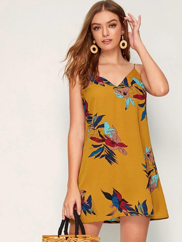 Double V Neck Floral Print Cami Dress