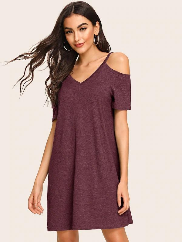 Double V Neckline Cold Shoulder Tee Dress