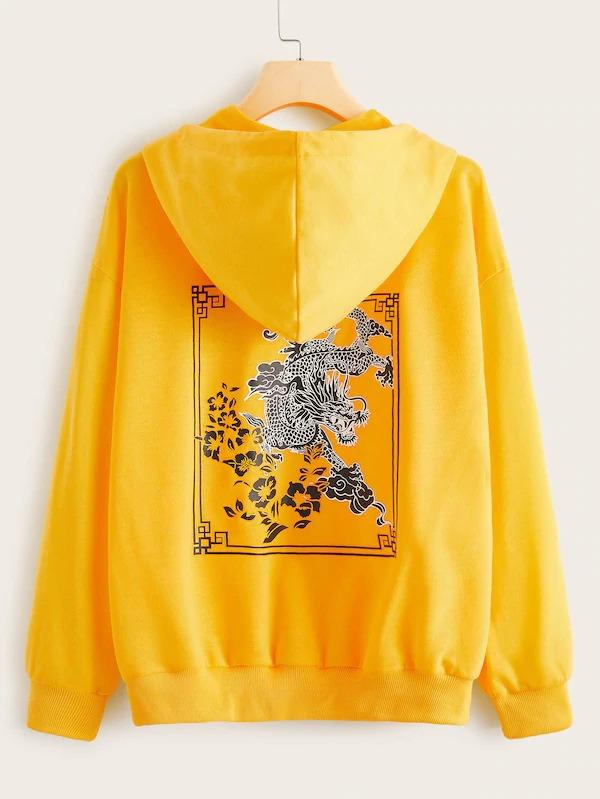 Dragon And Floral Print Drawstring Hooded Sweatshirt