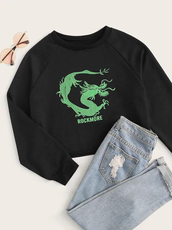 Dragon And Letter Print Raglan Sleeve Sweatshirt