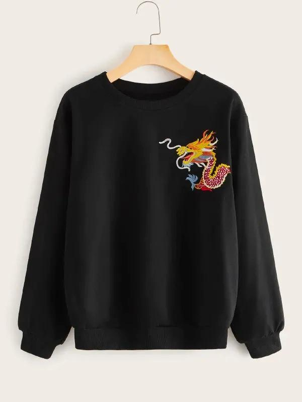 Dragon Embroidery Round Neck Sweatshirt