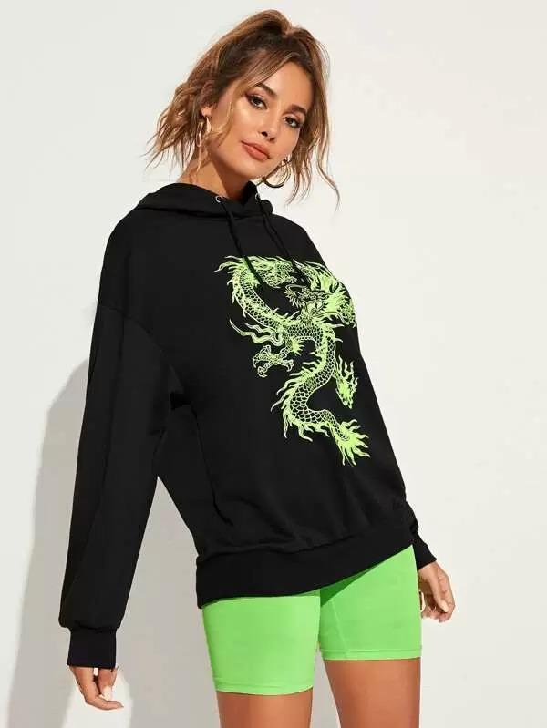 Dragon Print Drop Shoulder Drawstring Hoodie