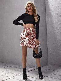 Women Draped Ruched Ruffle Hem Floral Skirt