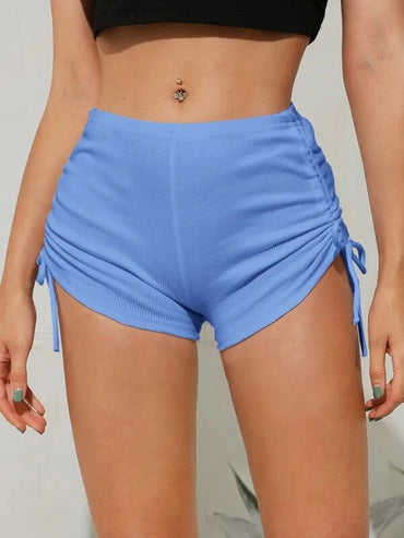 Women Drawstring Ruched Elastic Waist Shorts