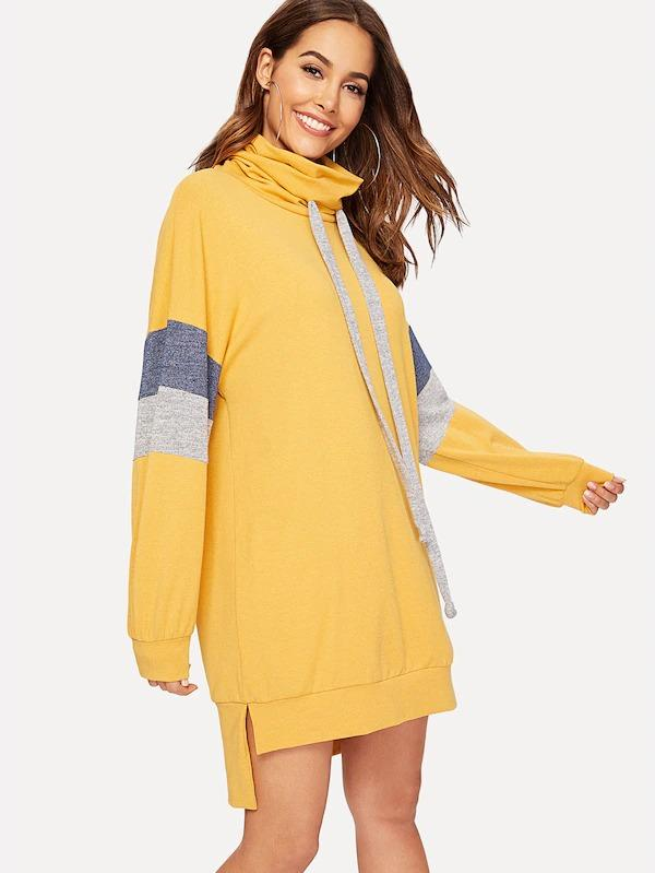 Drawstring Cowl Neck Color Block Dip Hem Sweat Dress