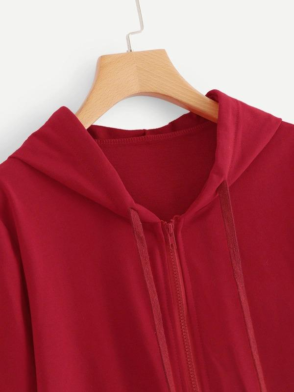 Drawstring Detail Solid Hooded Sweather