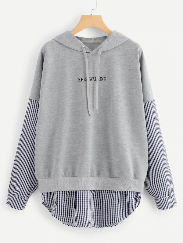 Drawstring Hoodie Letter Print Plaid Panel Sweatshirt