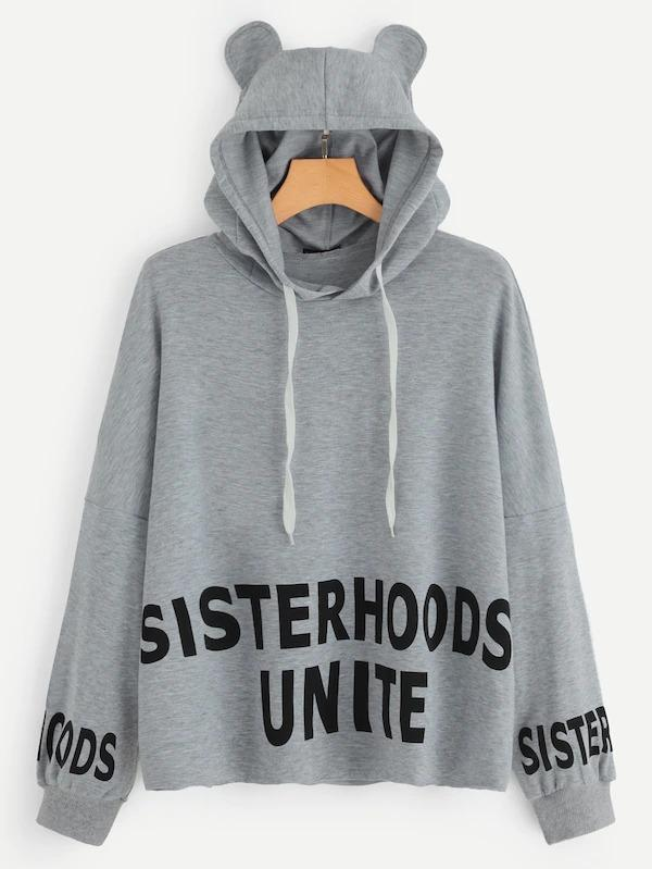 Drawstring Letter Hoodie With Ears