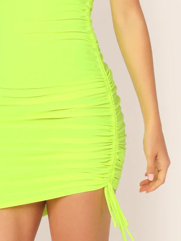 Drawstring Side Bodycon Dress With One Strappy