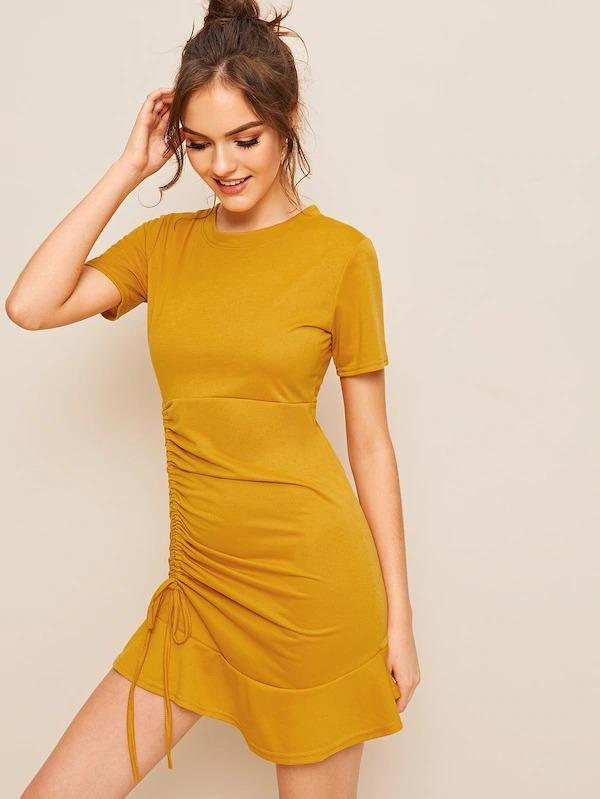Drawstring Side Ruffle Hem Dress