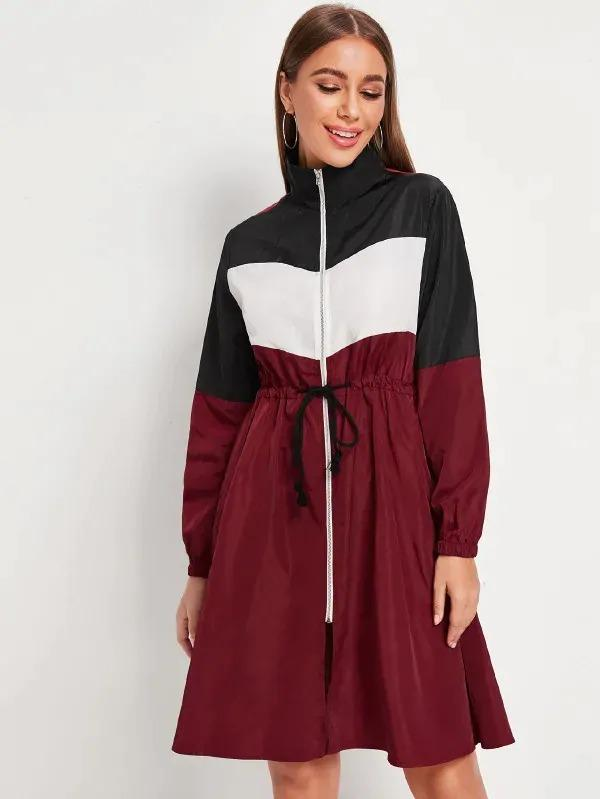 Drawstring Waist Color Block Zip Up Coat