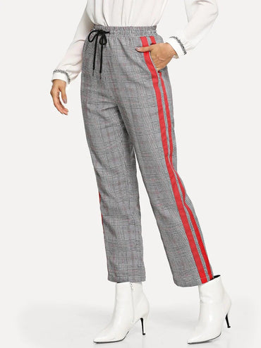 Drawstring Waist Contrast Tape Side Plaid Pants