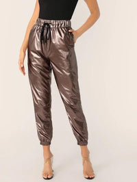 Drawstring Waist Leather Look Peg Pants