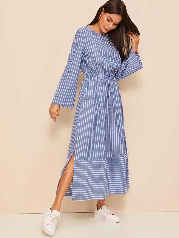 Drawstring Waist Slit Side Striped Dress