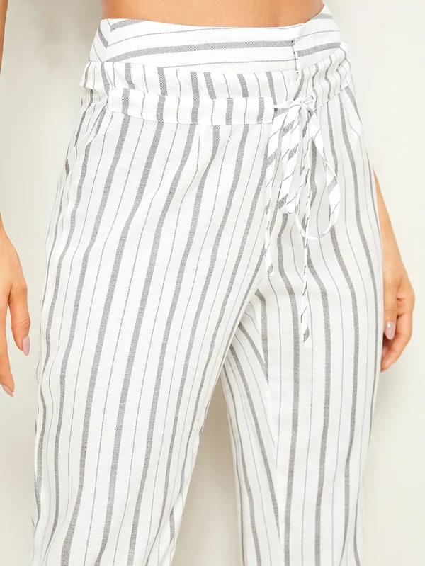 Drawstring Waist Striped Pants