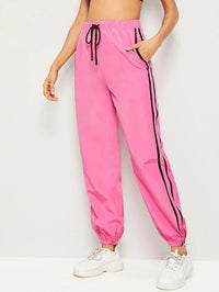 Drawstring Waist Striped Side Wind Pants