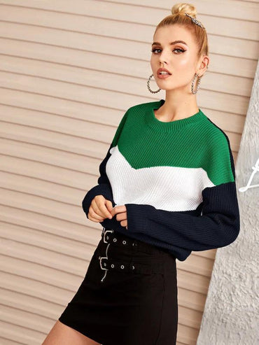 Drop Shoulder Color-Block Jumper
