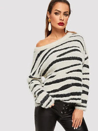 Drop Shoulder Fluffy Sweater