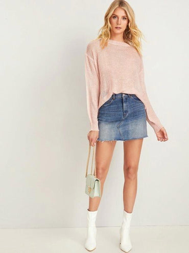 Drop Shoulder Solid Jumper