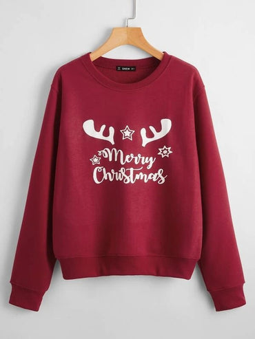 Women Drop Shoulder Christmas & Letter Graphic Pullover