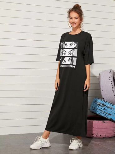 Women Drop Shoulder Comic Print Tee Dress