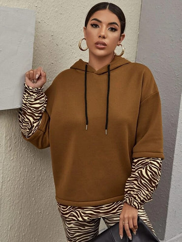Women Drop Shoulder Zebra Stripe Colorblock Oversized Hoodie