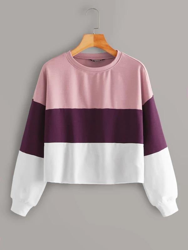 Drop Shoulder Colorblock Pullover
