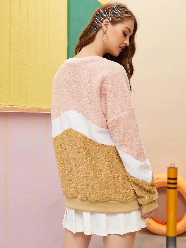 Drop Shoulder Cut And Sew Teddy Sweatshirt