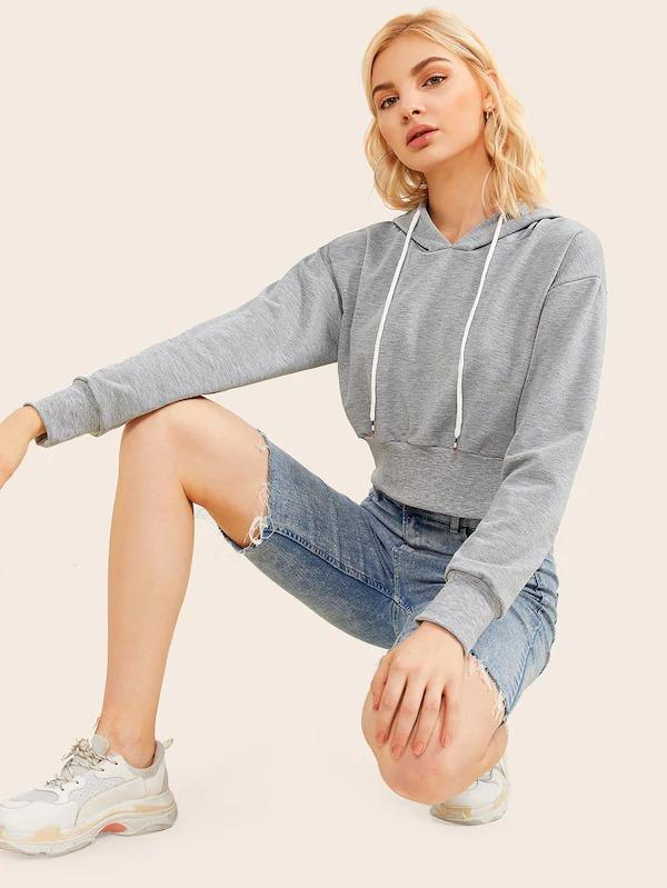 Drop Shoulder Drawstring Crop Hoodie