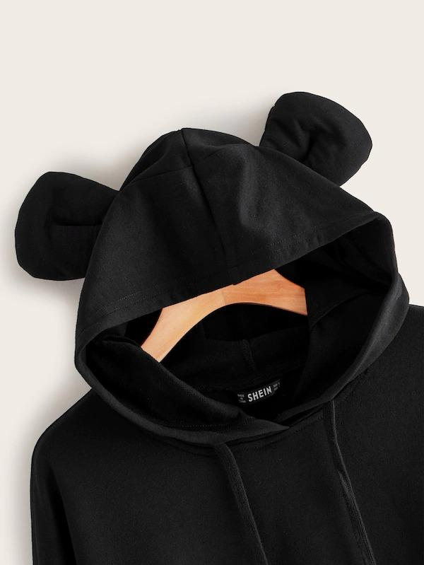 Drop Shoulder Ear Hoodie