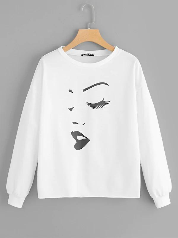 Drop Shoulder Face Print Pullover