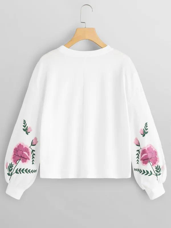 Drop Shoulder Flower Pullover