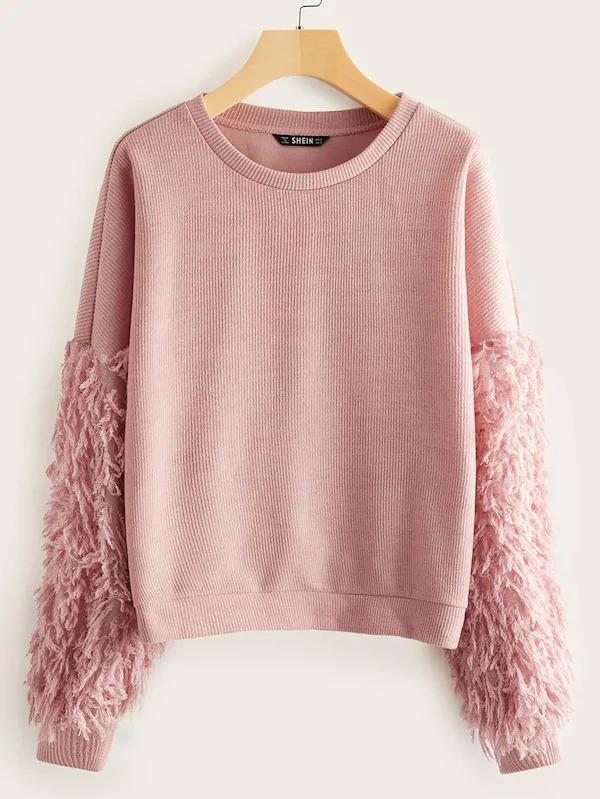 Drop Shoulder Fluffy Sleeve Top