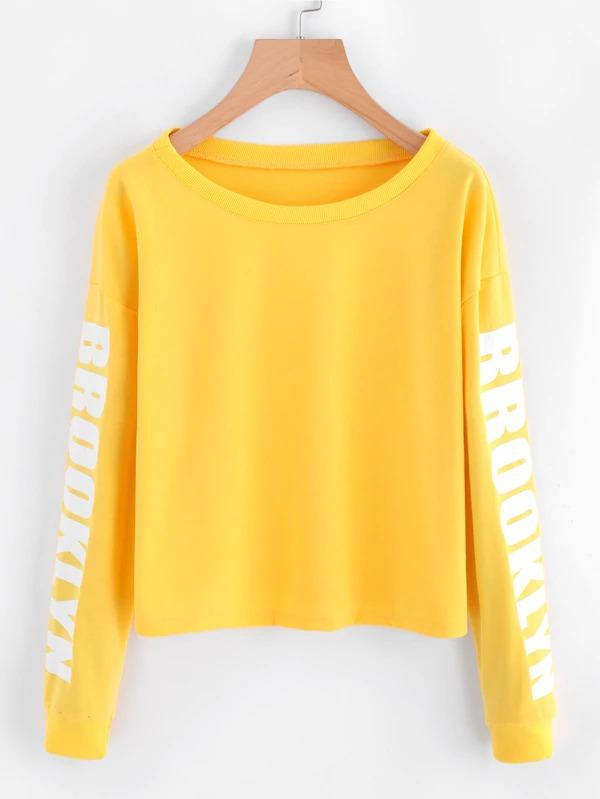 Drop Shoulder Letter Print Crop Sweatshirt