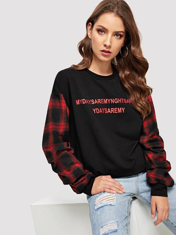 Drop Shoulder Plaid Sleeve Letter Pullover