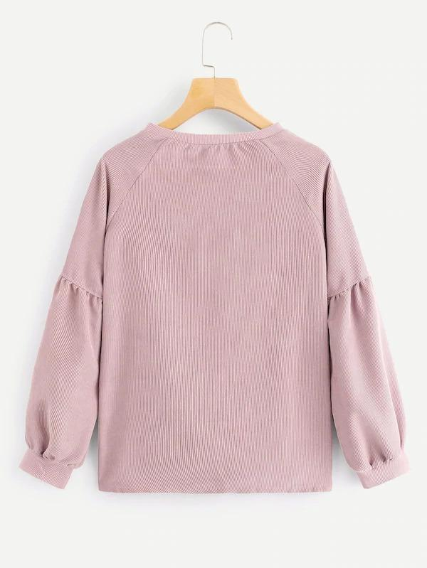 Drop Shoulder Solid Corduroy Sweatshirt